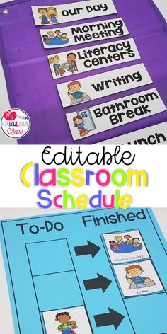 Editable Daily Schedule Cards and Individual Schedule Editable Classroom Schedule. Includes individual visual schedule to help students with Autism, Behavior problems, and Special Education, Visual Schedule Preschool, Visual Schedule Autism, Classroom Schedule, School Schedule, Visual Schedules, Visual Schedule Printable, Daily Schedules, Autism Preschool, Preschool Special Education