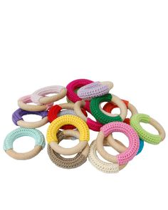 These teethers are great when your baby is getting teeth. They are machine washable and the crochet part massages your babies gums, also lovely to give as a gift in each color you would like. Crochet Baby Blanket Beginner, Crochet Baby Toys, Cute Crochet, Crochet For Kids, Crochet Rings, Crochet Hook Sizes, Crochet Patterns Amigurumi, Yarn Crafts, Crochet Projects