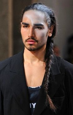 Braided side ponytail.  Willy Cartier for Yohji Yamamoto Spring/Summer 2014 | ph. Fashionising. #WillyCartier #Hair #Fashion