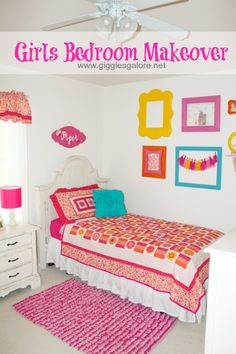 Bright and Bold Girls Bedroom Makeover #ad
