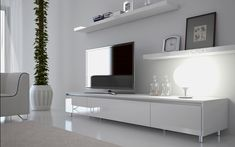 Ikea white tv stand white unit entertainment unit white entertainment unit simple elegant however need to White Entertainment Unit, Entertainment Center Kitchen, White Tv Unit, Floating Cabinets, Floating Shelves, Tv Decor, Home Decor, Home Interior, Ikea