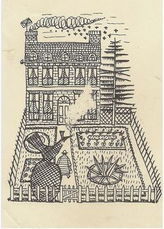 "Modern British Art Works by Evelyn Dunbar: ""Vignette of stylised house and garden for Gardeners' Choice"" Christopher Campbell, Art Director, Medium Art, Art School, Vignettes, Vintage World Maps, Literature, Sketches, Stamp"