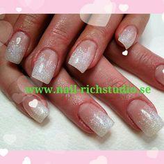 holo glitter over french tips nail art design
