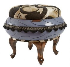 Periwinkle Ottoman with Brown Geometric Top (Mia)