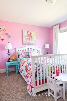Colorful Little Girl Room; Girls Bedroom Ideas; Benjamin Moore Pink Begonia Walls