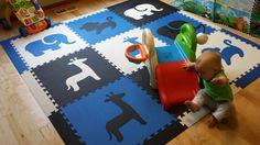 "Amazon.com - SoftTiles Safari Animals Foam Play Mat w/sloped borders (Blue, Black, White) Large Play Mat 78"" x 78"" (6.5' x 6.5') #playrooms #foammats"