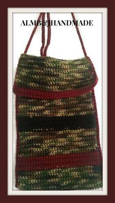 Crossbody Handbag , Crochet Camo Purse , Camo Tote Bag , Crochet HandBag , Crochet Tablet Case , Camo Shoulder Bag , OOAK Crossbody Bag