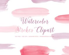 New to ByLef on Etsy: Watercolor Paint Strokes Clipart. Hand Painted pink graphics with brush stroke images for photo overlays blog graphics scrapbooking. (3.75 EUR)