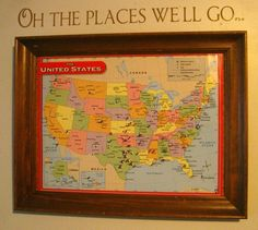 glue a map to cork board and then framed it. use push pins to mark all the places