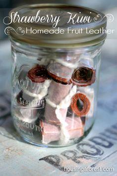 Homemade Dehydrated  Fruit Leather ~ Strawberry Kiwi