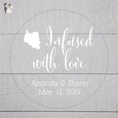 Infused with Love Wine White Ink Clear Transparent Wedding Favor Stickers (#084-C-WT) - Wedding party invitations (*Amazon Partner-Link)