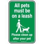 10 in. x 14 in. Pets on Leash Sign Printed on More Durable Thicker Longer Lasting Styrene Plastic, Green And White