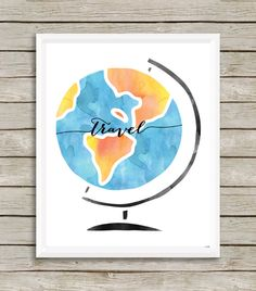 Travel, Watercolor Globe Wall Print by EllsieDesigns on Etsy