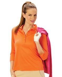 Nancy Lopez Ladies & Plus Size 3/4-Sleeve Paprika Golf Shirts (Luster). More colors to choose at #lorisgolfshoppe