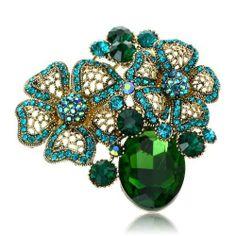Arinna Lovely Emerald Flowers Fashion Brooch Pin 18K Gp Multi Swarovski Elements Crystal Arinna. $19.98