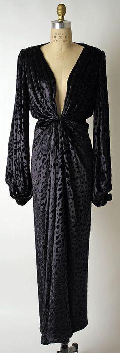 Black leopard-pattern silk velvet evening dress by Yves Saint Laurent, French, ca. 1985.