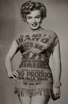 """The story behind this 1951 photoshoot appears to be contested. Some say it was a response to a journalist who criticized Monroe's less-than-modest clothing, calling her """"cheap"""" and """"vulgar,"""" and saying she'd be better suited to a potato sack. Another, more complimentary version says the pictures were inspired by a comment that Monroe could make even a potato sack look good. Either way, it's an endearingly defiant move on her part—eschewing her obvious bombshell typecasting to do something…"""