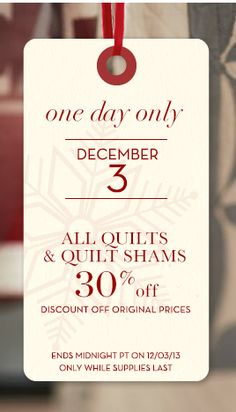 30% off all quilts at Pottery Barn today only! http://rstyle.me/n/djuwhnyg6