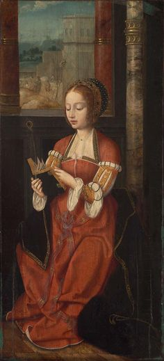 Unidentified artist, Netherlandish, 16th century (Netherlandish), Saint Barbara.  Oil on panel.  67.3 x 30.2 cm (26 1/2 x 11 7/8 in.).  Museum of Fine Arts, Boston.  68.787.