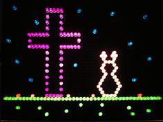 Lite Brite Easter scene Character Template, Lite Brite, Easter Baskets, Troy, Fun Things, Pixel Art, Cool Kids, Hobbies, Scene