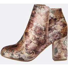 Floral Patterned Ankle Boots TAN MULTI ($48) ❤ liked on Polyvore featuring shoes, boots and ankle booties