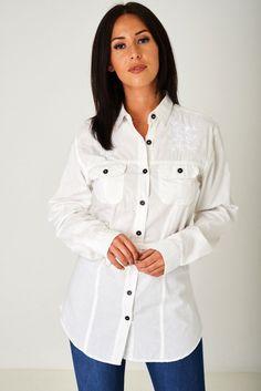 Buy Longline Offwhite Shirt for Women at Fashiontage. Shirt Blouses, Shirts, Long A Line, Shirt Shop, Off White, Chef Jackets, Rain Jacket, Windbreaker, A3