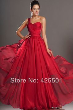 New Arrival Special Occasion Dress Gorgeous One shoulder Pleated  Red  Long Formal Elegant Party Dresses Evening Gown Dress 2013-in Evening ...