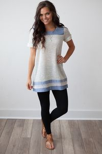 Short Sleeve Top Self French Terry Chambray Lace Detail T-Shirt Dress - Grey