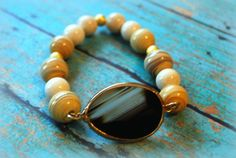 Agate Amber Striped Porcelain Cream Fossil Beads by Cheshujewelry, $22.00