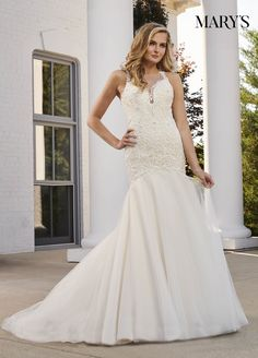 0d5eea9535a Charming fit and flare tulle wedding dress with a sheer illusion yoke