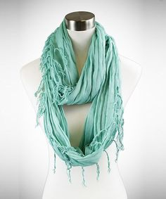 Solid Pale MInt Fringe Infinity Scarf