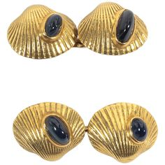 Pair of Cabochon Sapphire Gold Cufflnks | From a unique collection of vintage cufflinks at https://www.1stdibs.com/jewelry/cufflinks/cufflinks/