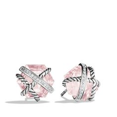 David Yurman Cable Wrap Earrings with Rose Quartz ($750) ❤ liked on Polyvore featuring jewelry, earrings, cable jewelry, pave diamond earrings, wrap earrings, david yurman and hexagon earrings