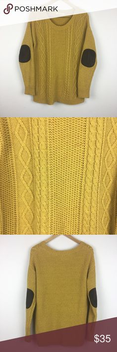 """Coincidence & Chance Cable Knit Chunky Sweater Med Brand: Coincidence & Chance. Material: 58% cotton 42% acrylic. Color: Mustard Yellow. Size: Medium. Measurements (approx): Length 28 1/2"""" Armpit to armpit 21"""" Sleeve cuff to shoulder seam 22"""". Made in China. Preowned. Dropped shoulder. Cable knit. Chunky sweater. Elbow patch. Loose fitting. Light pilling from being worn and washed. Questions welcomed. Make an offer. Sweaters"""