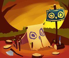 The Owl camp early concept art #Game #Design #MomongaPinballAdventures