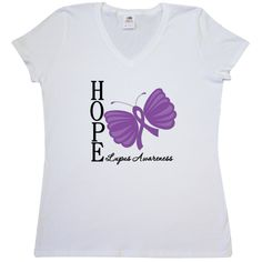 Hope Butterfly Lupus Women's V-Neck T-Shirt - White | Cancer Shirts | Disease Apparel | Awareness Ribbon Colors
