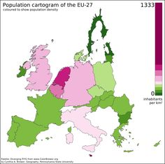 Eu Map Distorted For Absolute Population And Colored For Density