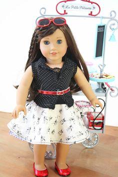 pippaloo for dolls Custom American Girl Dolls, American Girl Dress, American Girl Crafts, American Doll Clothes, Sewing Doll Clothes, Girl Doll Clothes, Barbie Clothes, Girl Clothing, American Girl Parties