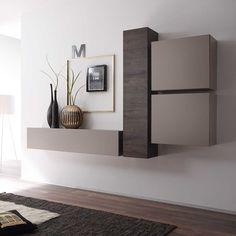 Wohnzimmermöbel weiß eiche  Wohnwand weiss Lack/ Eiche natur Woody 12-00856 | Wohnzimmer ...