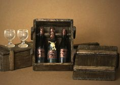 Miniature Box of Wine Bottles for Your Dollhouse by DinkyWorld