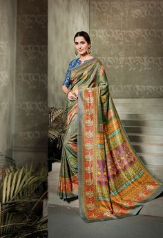 Pure Traditional Looks Designer saree Buy It Now Ethnic Sarees, Traditional Looks, Color Combinations, Party Wear, Sari, Classy, Indian, Pure Products, Blouse