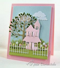 Memory Box dies- Country House (98165), Puffy Clouds (98172), Arboscello Tree (98155), and Wrought Iron Fence (98164),  Poppystamps die Wildflower Patch (820) from the KittieKraft blog