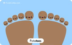 Potatoes Toes - Cute Comedy with Kawaii Fruit cartoons Cute Cartoon Food, Fruit Cartoon, Cute Food, Cute Potato, Kawaii Potato, Funny Fruit, Cute Fruit, Funny Puns, Funny Cartoons
