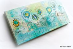 2 yellow, 5 blue flowers - mixed media painting on canvas - blue, teal, gold, washi, flower, circle, painting, original, collage via Etsy