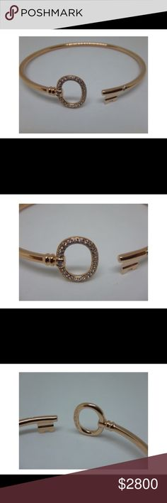 """Tiffany & Co Tiffany Keys Wire Bracelet ROSE GOLD Brilliant beacons of optimism and hope, Tiffany Keys are radiant symbols of a bright future. Diamonds trace this modern and elegant design. 18k ROSE gold with pavé diamonds Size medium Fits wrists up to 6.25""""   100% authentic. Professionally polished to like new condition. Comes with Tiffany Pouch.   Please check out my other Tiffany listings.  Buy with confidence. I am a Posh Ambassador. This purchase will be authenticated by Posh Concierge…"""