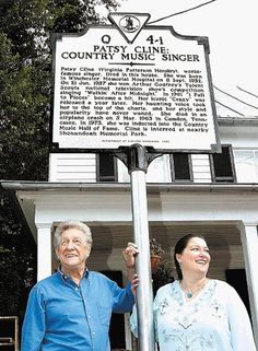 "Patsy's husband (Charlie) and daughter (Julie) at the unveiling of the historical marker in front of the house she lived in with her family as a young girl. This is where she lived when she became ""Patsy""...the house is now open for tours. Winchester, VA"