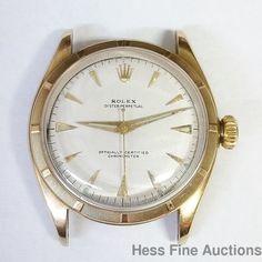 6085 Rolex 14k Gold Thunderbird Bezel Bubble Back Vintage Mens Watch #Rolex #Sport