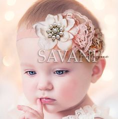 Baby girl headbandIVORY BABY HEADBAND flower by SAVANIboutique