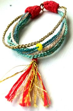 bracelet with tassle, made with cotton, silk and metallic thread by Anna Ben - crochet - for sale*