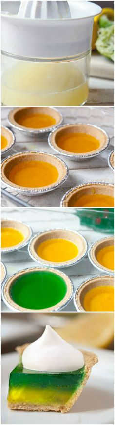 Lemon-Lime Pie Jelly Shots (2 1/4 (.25 oz) packets unflavored gelatin 1/2 cup water 1/4 cup sugar  3/4 cup citrus vodka  1 lemon  1 lime  8 drops yellow food coloring 8 drops green food coloring 6 mini graham cracker pie crusts Whipped cream)